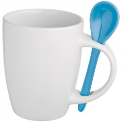 Керамична чаша с лъжичка в дръжката