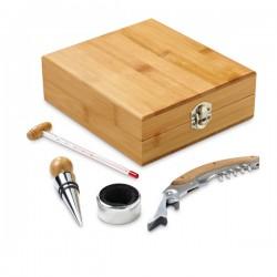 Рекламен комплект за вино от четири части в подаръчна бамбукова кутия