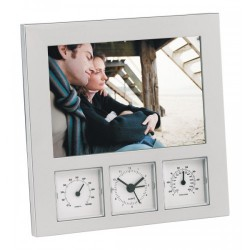 Рамка за снимка с термометър, хигрометър и часовник