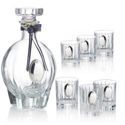 - Комплект бутилка и 6 чаши за ликьор от кристал и сребро