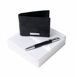 Луксозен бизнес комплект Trame / Nina Ricci включващ кожен портфейл и химикалка