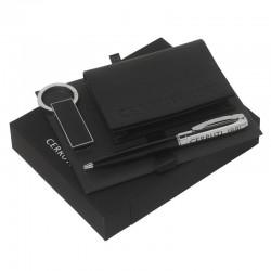 Луксозен комплект Genesis / Cerruti 1881 включващ портфейл за карти, визитки и документи, метален химикал и ключодържател USB