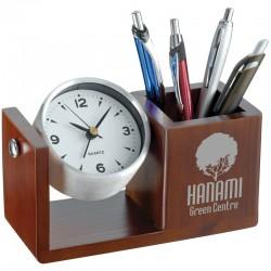 Стилна поставка за химикалки с механичен часовник
