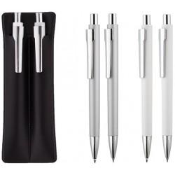 Комплект химикалка и автоматичен молив в кожено калъфче