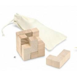 Дървен пъзел от 7 части в памучна торбичка