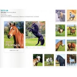 14 листов компактен календар със спирала Horses 2018