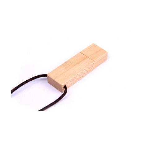Дървена USB памет с лента за врат