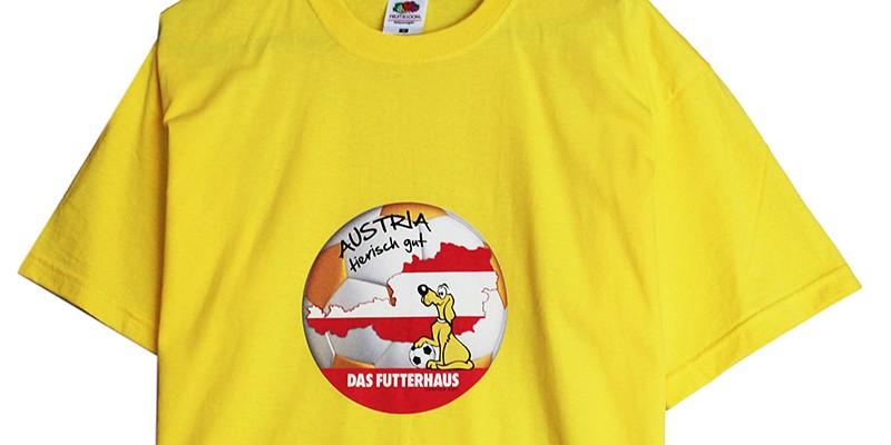 Пълноцветен печат на жълти тениски