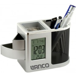 Поставка за бюро с часовник и термометър