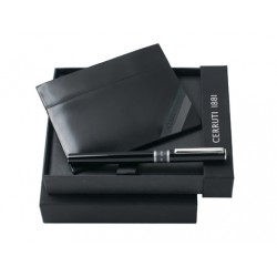 Луксозен бизнес комплект Corner / Cerruti 1881 включващ метален химикал и кожен портфейл за карти