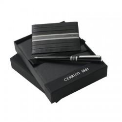 Луксозен бизнес комплект Cerruti 1881 включващ метален химикал и кожен портфейл за карти