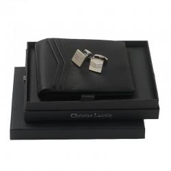 Луксозен бизнес комплект Double Chevron / Christian Lacroix включващ луксозен кожен портфейл и мъжки ръкавели