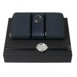 Луксозен комплект дамски портфейл и ръчен часовник в кутия Ungaro