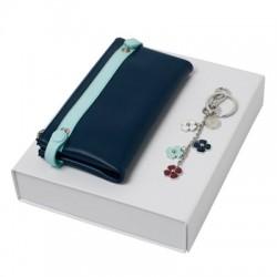 Луксозен комплект дамски портфейл и ключодържател Cacharel