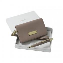 Луксозен дамски комплект с елегантна малка чантичка и химикал Nina Ricci
