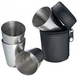 Комплект четири чашки за аклохол от неръждаема стомана