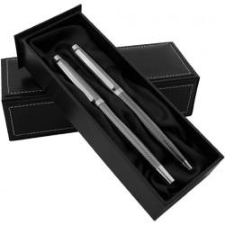 Луксозен комплект химикалка и ролер в кожена кутия