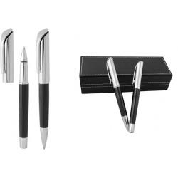 Елегантен рекламен комплект химикалка и ролер в кожена кутия
