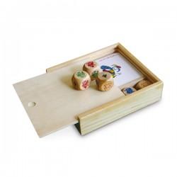 Рекламен комплект карти за игра и зарове в дървена кутийка