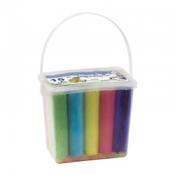 Комплект цветни тебешири в пластмасова кофичка