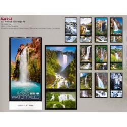 Луксозен немски календар 14 листа All About Waterfalls 2018