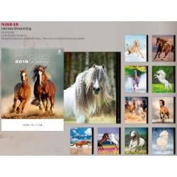 Многолистов немски календар Horses Dreaming 2018