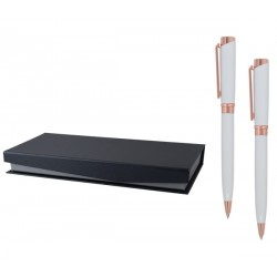 Стилен рекламен комплект химикалка и автоматичен молив в кожена кутия