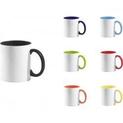 Рекламна керамична чаша с цветна вътрешност и дръжка