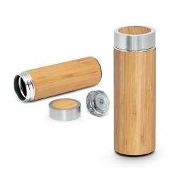 Термос от бамбук и неръждаема стомана с цедка за чай