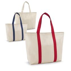 Рекламна памучна чанта с цветни дръжки за брандиране