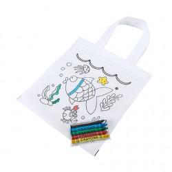 Бюджетна детска чанта за оцветяване от нетъкан текстил в комплект с пастели за брандиране