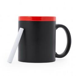 Керамична черна чаша с цветен горен кант и вътрешност с тебешир за писане