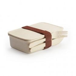Рекламна еко кутия за храна с прибори от бамбукови влакна и РР за брандиране