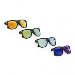 Рекламни слънчеви очила с черно матово покритие,огледални стъкла и UV400 защита за брандиране