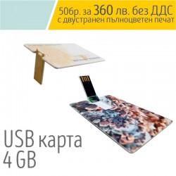 USB флаш памет във формата на карта 4 GB с пълноцветен печат от двете страни