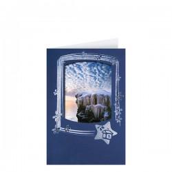 Стилна коледна картичка в синьо