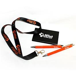 Връзки за бадж, химикалки и други рекламни материали брандирани с логото SBtech